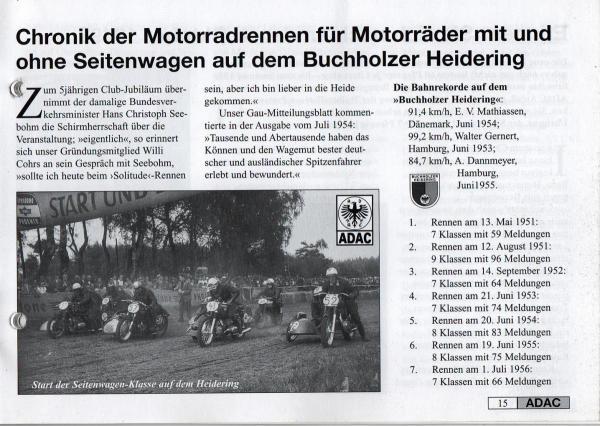 Chronik der Motorradrennen für Motorräder mit und ohne Seitenwagen auf dem Buchholzer Heidering