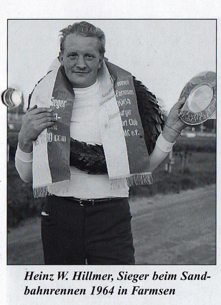 Heinz W. Hillmer, Sieger beim Sandbahnrennen 1964 in Farmsen